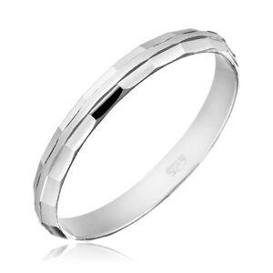 Prsten ze stříbra 925 - zkosené lesklé okraje - Velikost: 53