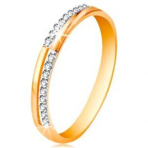 Prsten ze zlata 585 - úzké linie z čirých blýskavých zirkonků, lesklá ramena GG191.01/08