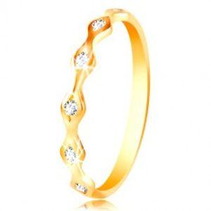 Prsten ze žlutého 14K zlata - lesklá zrnka se vsazenými zirkony čiré barvy GG214.17/23
