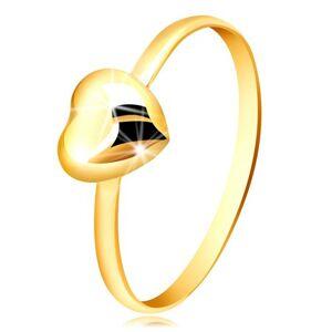 Prsten ze žlutého zlata 375 - úzký kroužek a pravidelné zrcadlově lesklé srdíčko - Velikost: 58