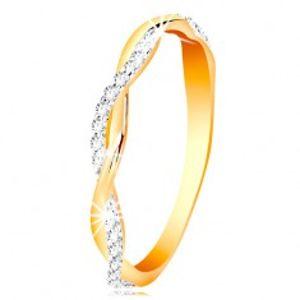 Prsten ze 14K zlata - dvě tenké propletené vlnky - hladká a zirkonová GG201.59/65