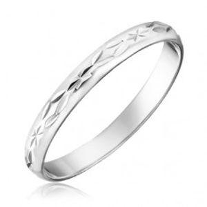 Prsten ze stříbra 925 - gravírované kosočtverce a paprsky H12.4