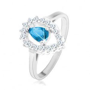 Prsten ze stříbra 925, čirá kontura obrácené kapky s akvamarínovým zirkonem K06.13