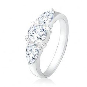 Prsten ze stříbra 925, čirý kulatý kamínek, zirkonové kapky SP17.18