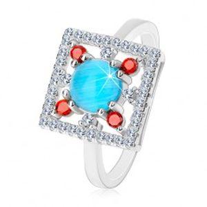 Prsten ze stříbra 925, čirý zirkonový čtverec, světle modrý kruh uprostřed K05.08
