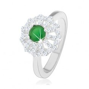 Prsten ze stříbra 925, květ s obrysy čirých lupínků, zelený zirkonový střed HH11.14
