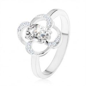 Prsten ze stříbra 925, blyštivý obrys květu s oválným zirkonem čiré barvy SP55.02