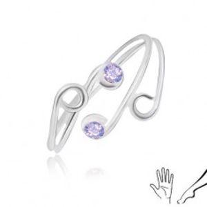 Prsten ze stříbra 925 na ruku nebo nohu, tenká ramena s fialovými zirkony AA31.04