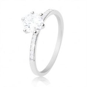 Prsten ze stříbra 925, kulatý čirý zirkon, tenká ramena se zirkony K09.05