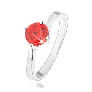 Prsten ze stříbra 925, kulatý oranžový zirkon, zrcadlově lesklá ramena HH13.13