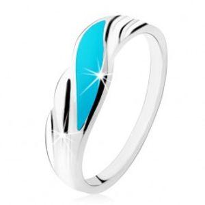 Prsten ze stříbra 925, tyrkysová vlnka, lesklé zvlněné linie po stranách HH4.17