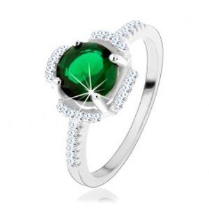 Prsten ze stříbra 925, zelený kvítek, lupínky z čirých zirkonů HH3.10