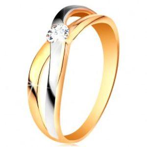 Prsten ze zlata 585 - kulatý zirkon čiré barvy, rozdělená překřížená ramena GG195.68/74