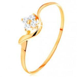 Prsten ze žlutého 14K zlata - kvítek z čirých diamantů, zvlněné rameno BT500.74/81