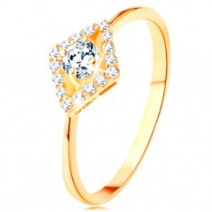 Prsten ze žlutého 14K zlata - kulatý čirý zirkon v blýskavém obrysu kosočtverce GG128.07/128.11/14