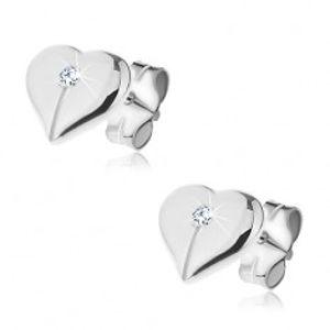 Puzetky ze stříbra 925 - lesklé přepůlené srdce se zirkonem Y45.2