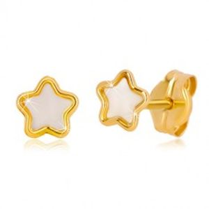 Puzetové 14K zlaté náušnice s motivem hvězdy s přírodní perletí GG36.19