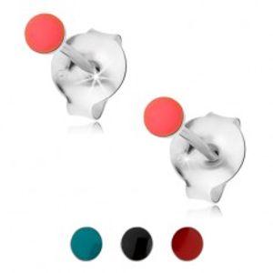 Puzetové náušnice, stříbro 925, kulatá hlavička pokrytá barevnou glazurou PC04.31/34
