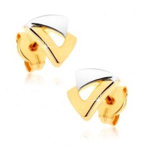 Puzetové náušnice z 9K zlata - dva trojúhelníčky ve dvoubarevném provedení GG37.02