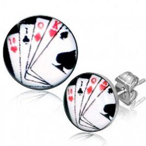 Puzetové náušnice z chirurgické oceli, hrací karty V14.07