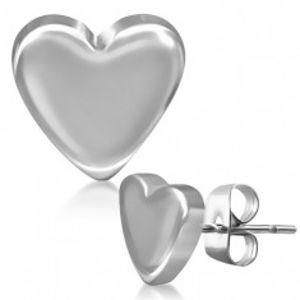 Puzetové náušnice z oceli, hladké souměrné srdce Q23.17