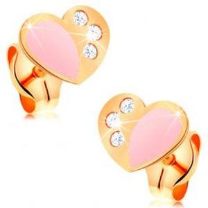 Puzetové náušnice ze žlutého 14K zlata, srdce zdobené růžovou glazurou a zirkony GG163.03
