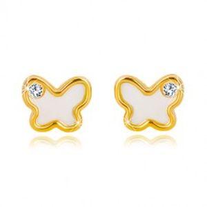 Puzetové náušnice ze 14K žlutého zlata - motýlek s přírodní perletí a zirkonem GG19.10