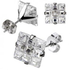 Puzetové náušničky z oceli - čtvercový broušený zirkon Z27.4