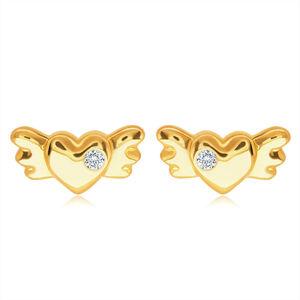 Puzetové zlaté 14K náušnice - plné symetrické srdíčko s křídly a čirým zirkonem