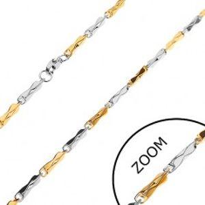 Řetízek z chirurgické oceli, dvoubarevné hranoly se zúženým středem, 3 mm Z27.07