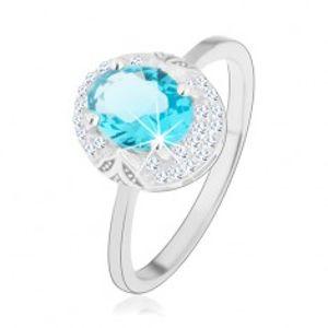 Rhodiovaný prsten, stříbro 925, světle modrý zirkonový ovál, výřezy HH12.16