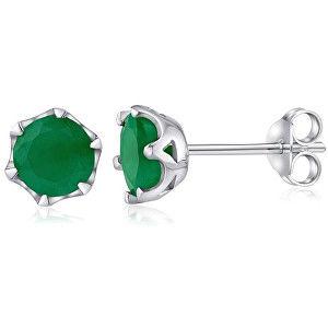 Silvego Stříbrné náušnice s pravým smaragdem FNJE0242em