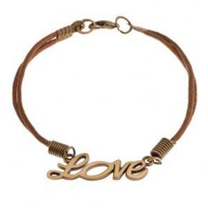 """Šňůrkový náramek hnědé barvy, nápis """"Love"""" v matném zlatém odstínu SP45.17"""