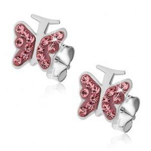 Stříbrné náušnice 925 - růžový motýlek se zirkony U16.11