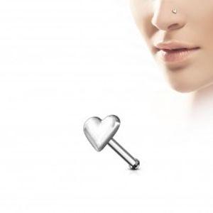 Rovný piercing do nosu ze stříbra 925 - plné pravidelné srdíčko N34.13