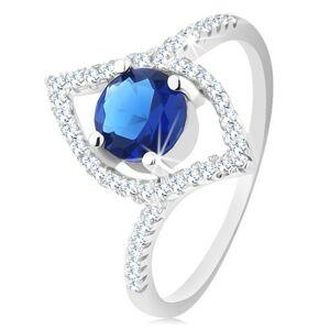 Stříbrný 925 prsten, blýskavý obrys zrnka, kulatý modrý zirkon - Velikost: 56