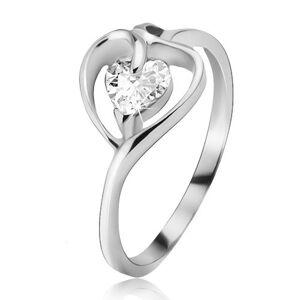Stříbrný prsten 925, kontura srdce s čirým zirkonem - Velikost: 54