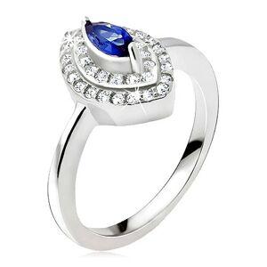 Stříbrný prsten 925, modrý zrnkový kamínek, zirkonová elipsa - Velikost: 69