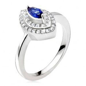 Stříbrný prsten 925, modrý zrnkový kamínek, zirkonová elipsa BB12.05
