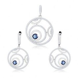 Stříbrná sada 925 - přívěsek a náušnice, obrysy kruhů, kulatý modrý zirkon S42.09