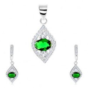 Stříbrná sada 925 - přívěsek a náušnice, špičaté zrnko, zelený ovál - zirkon SP76.21