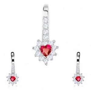 Stříbrná sada 925, náušnice a přívěsek, červené zirkonové srdce, čirý lem SP81.11
