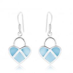 Stříbrné 925 náušnice, symetrické srdce, modrá perleť, stříbrné linie SP89.19