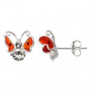 Stříbrné náušnice 925 - 3D oranžový motýl, černé tečky T20.2