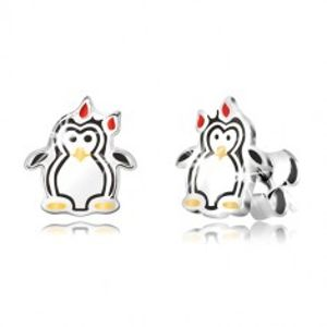 Stříbrné náušnice 925 - lesklý tučňák s mašličkou, trojbarevná glazura R10.09
