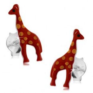 Stříbrné náušnice 925, lesklá červená žirafa s oranžovými tečkami, glazura I24.17