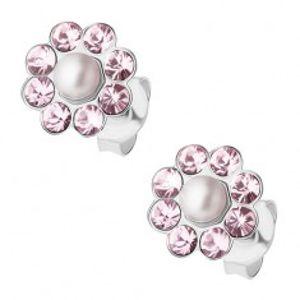 Stříbrné náušnice 925, světle fialový kvítek s bílou kulatou perlou I34.22