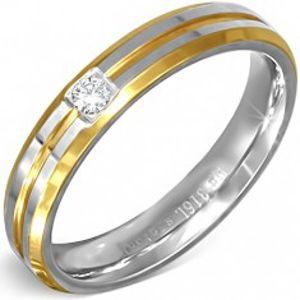 Stříbrno-zlatý prsten z oceli s malým čirým zirkonem BB5.7