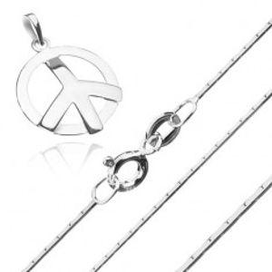 Stříbrný 925 náhrdelník - hranatý řetízek a symbol míru S63.24