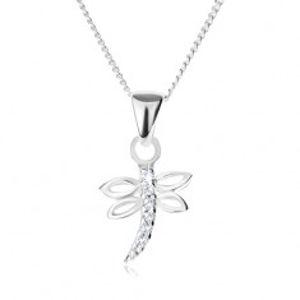 Stříbrný 925 náhrdelník - řetízek a přívěsek ve tvaru vážky, čiré zirkony V07.28